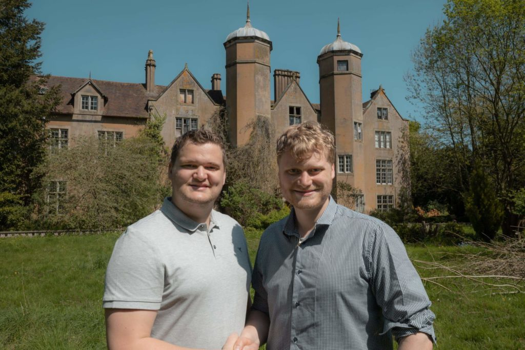 Samuel and Russell Leeds outside their castle that they are converting into luxury flats.